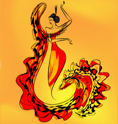 figure of flamenco dancer girl vector image vector image