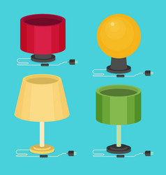 flat table lamp icon set vector image vector image