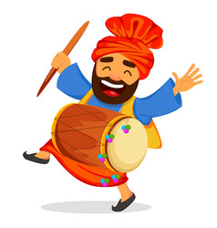 funny dancing sikh man with drum vector image