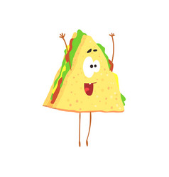 funny sandwich cartoon fast food character vector image vector image