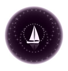 Logo yacht club on a dark background vector image