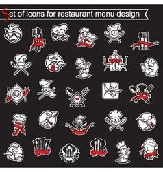 set of icons for restaurant menu design vector image