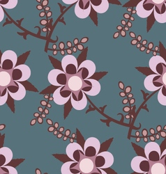 Blue seamless pattern with pink flowers vector image vector image