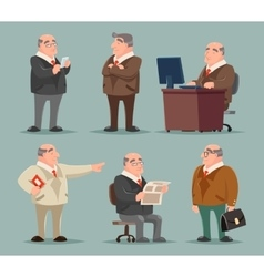 Businessman big boss adult old man character vector