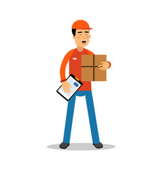 delivery man holding cardbox and check list vector image vector image