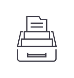document archivebox with files line icon vector image