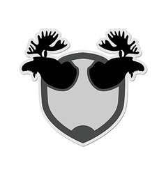 Logo Moose head on a shield Emblem for hunting vector image