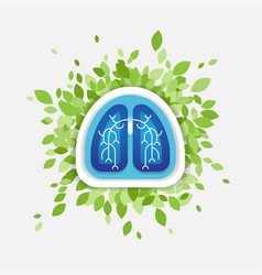 lungs and leaves health concept vector image