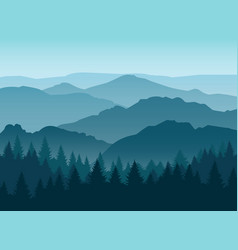 misty blue mountain silhouettes background vector image vector image