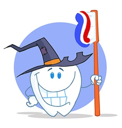 Smiling Halloween Tooth With Toothbrush vector image vector image