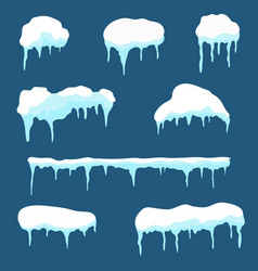 snow cap ice cap set snowdrifts and icicles vector image vector image