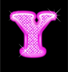 Y letter pink bling girly vector image