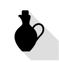 amphora sign black icon with flat vector image