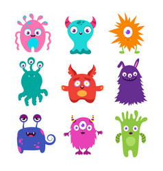 cute cartoon baby monsters collection vector image vector image