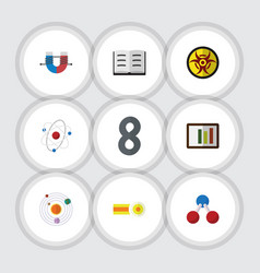 Flat icon science set of lecture orbit vector