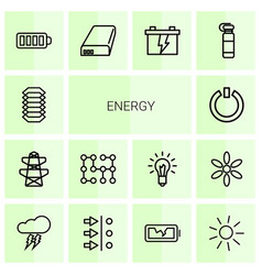 14 energy icons vector