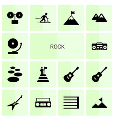14 rock icons vector image