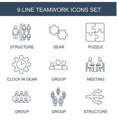 9 teamwork icons vector