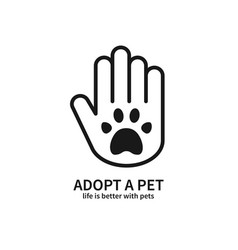 Adopt a pet hand with paw line icon volunteer vector