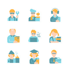 Age gender and social status flat color icon set vector