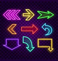 arrows neon signs on dark background vector image