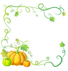 Autumn frame with pumpkins and vines leaves and vector