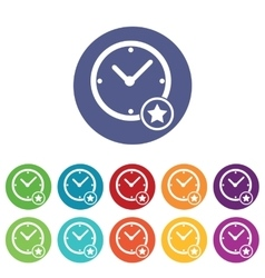 Best time icons colored set vector