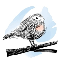 Bird in linocut style vector