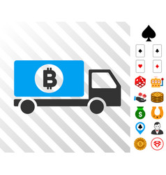 bitcoin delivery lorry icon with bonus vector image