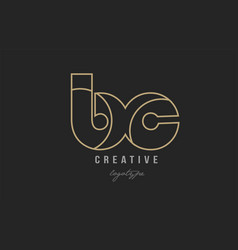 Black and yellow gold alphabet letter bc b c logo vector
