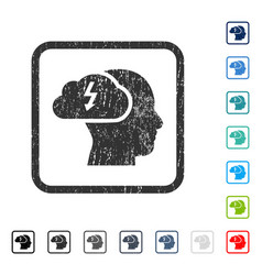 Brainstorming icon rubber watermark vector