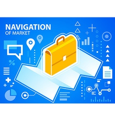 Bright navigate map and work suitcase on blu vector