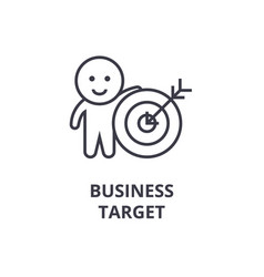 business target line icon outline sign linear vector image