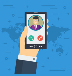 businessman hand accepts the phone call vector image