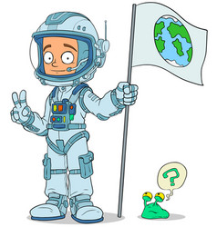 Cartoon astronaut in space suit characters set vector