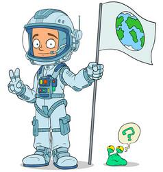 cartoon astronaut in space suit characters set vector image