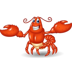 Cartoon happy lobster hands up isolated vector