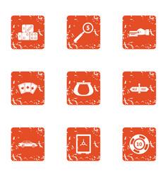 Casino segment icons set grunge style vector