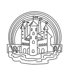 Castle coloring page vector