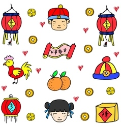 Chinese theme doodles vector image