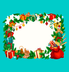 christmas holiday frame with blank space vector image