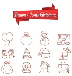 Collection of Christmas icons object vector