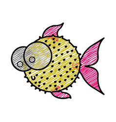 Color pencil drawing of blowfish with big eyes vector
