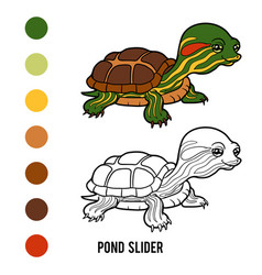 Coloring book pond slider vector