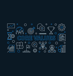 Core values horizontal linear simple vector