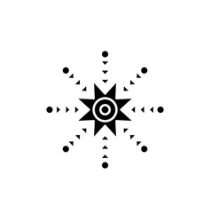 creative snowflake black icon sign on vector image