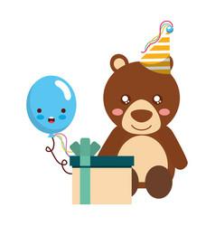 cute bear gift balloon kawaii birthday vector image
