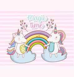 Cute unicorn couple with rainbow in the clouds vector