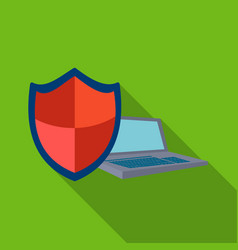 data security of laptop icon in flat style vector image