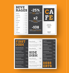 Design a trifold menu for cafes and vector